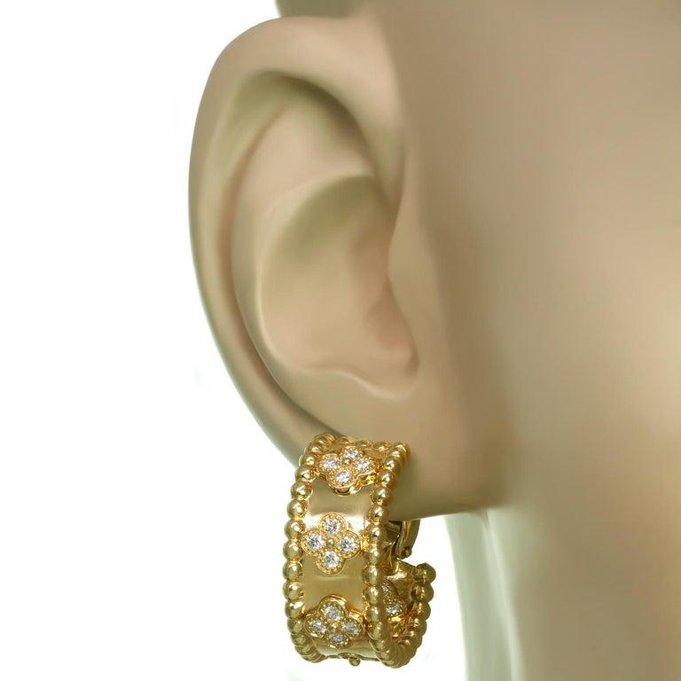Women's Van Cleef & Arpels Perlée Clover Diamond Yellow Gold Hoop Earrings For Sale