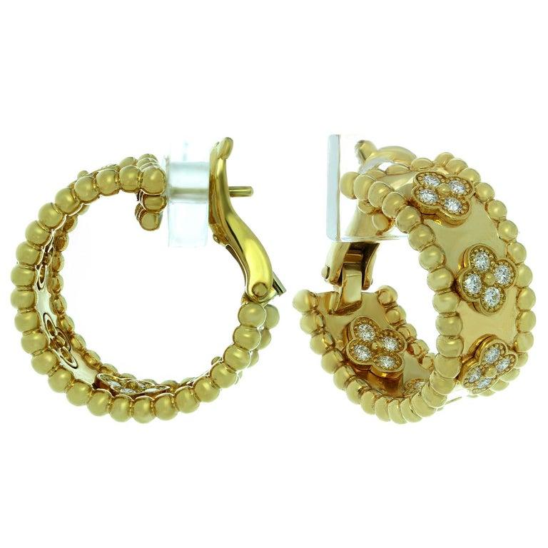 Van Cleef & Arpels Perlée Clover Diamond Yellow Gold Hoop Earrings For Sale 1