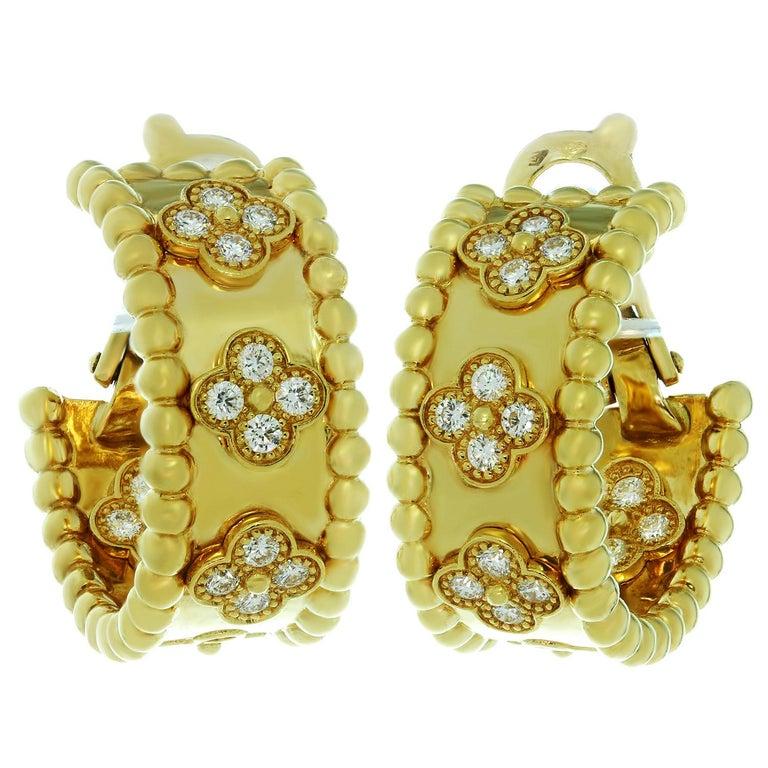 Van Cleef & Arpels Perlée Clover Diamond Yellow Gold Hoop Earrings For Sale