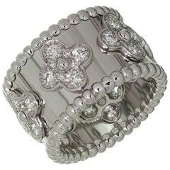 Van Cleef & Arpels Perlée Clovers Diamond White Gold Band Ring