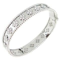 Van Cleef & Arpels Perlée Clovers Diamonds White Gold Bracelet Bangle