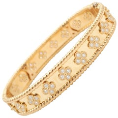 Van Cleef & Arpels Perlée Clovers Yellow Gold and Diamond Bangle