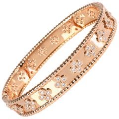 Van Cleef & Arpels Perlee Diamond Bracelet in 18 Karat Rose Gold 1.78 Carat