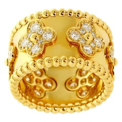 Van Cleef & Arpels Perlee Diamond Gold Ring