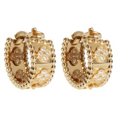 Van Cleef & Arpels Perlee Diamond Hoop Earring in 18K Yellow Gold 0.62 CTW