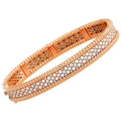 Van Cleef & Arpels Perlée Diamond Rose Gold Bangle Bracelet