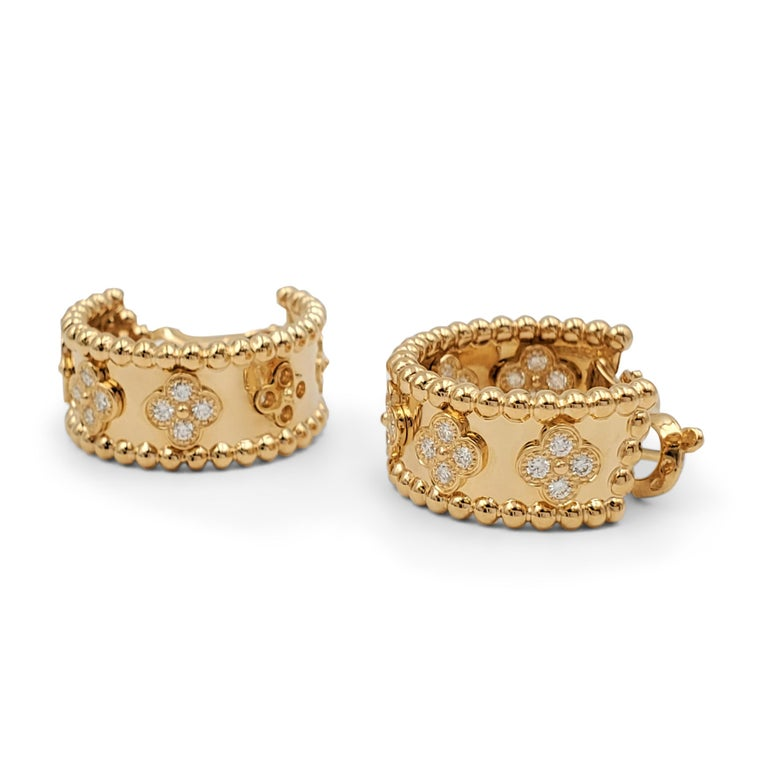 Round Cut Van Cleef & Arpels Perlée Yellow Gold and Diamond Earrings