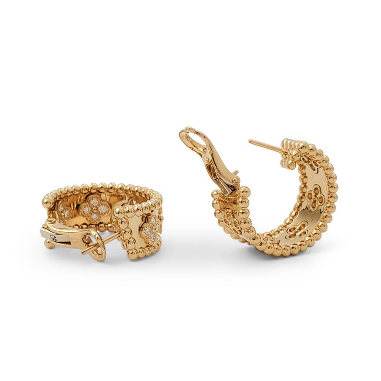 Van Cleef & Arpels Perlée Yellow Gold and Diamond Earrings In Excellent Condition In New York, NY
