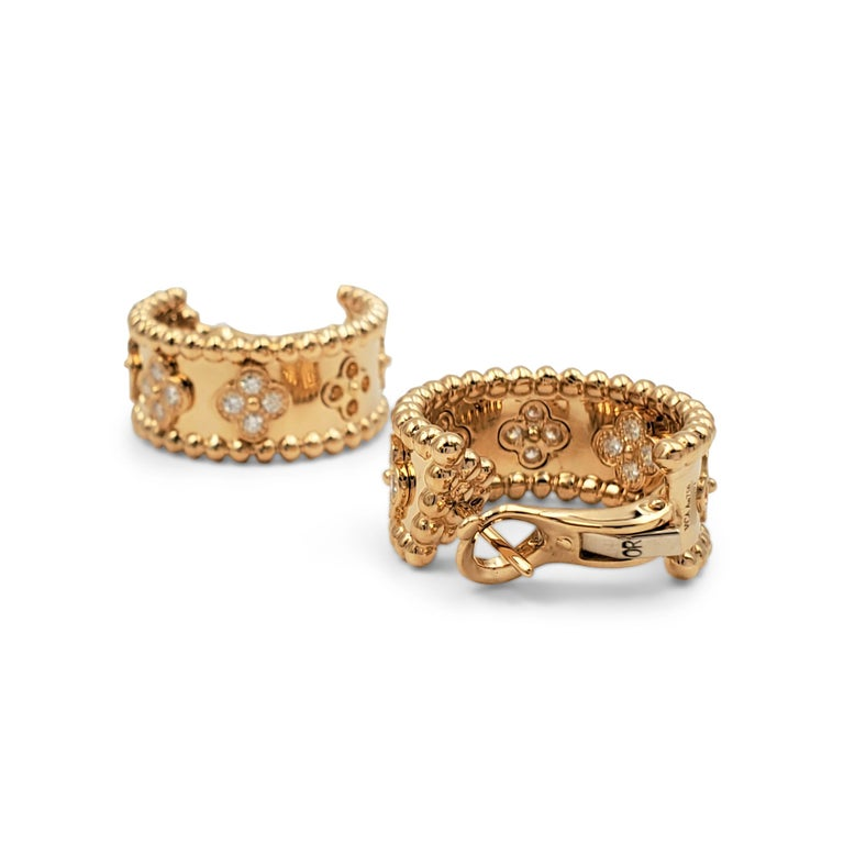 Women's Van Cleef & Arpels Perlée Yellow Gold and Diamond Earrings