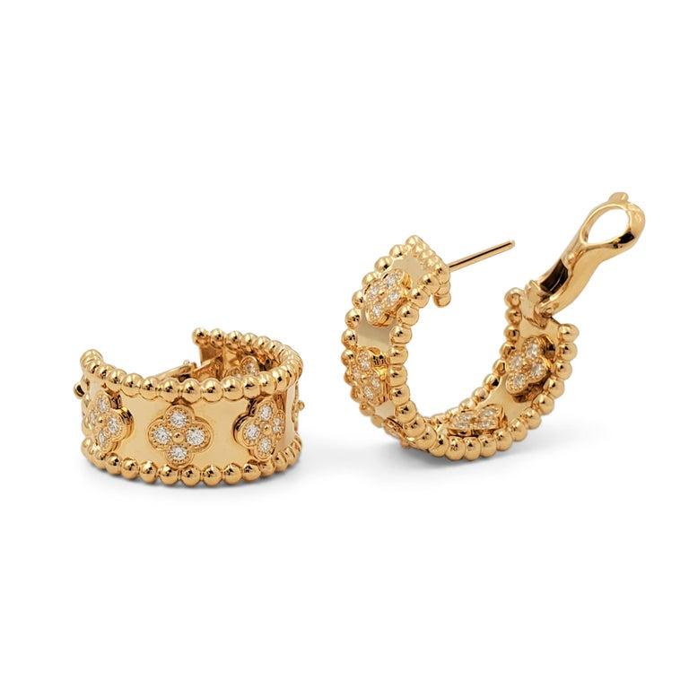 Van Cleef & Arpels Perlée Yellow Gold and Diamond Earrings 1
