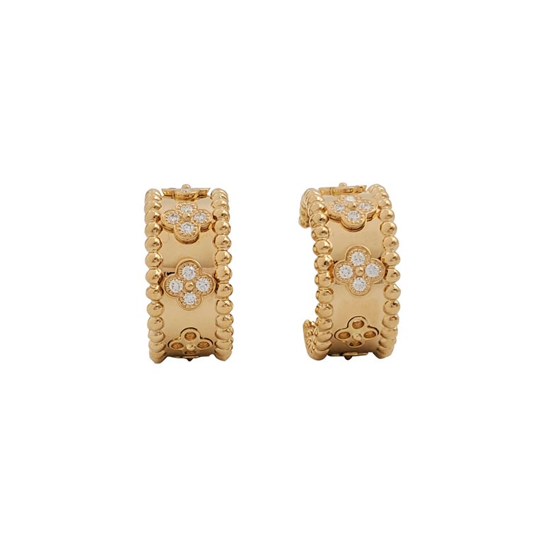Van Cleef & Arpels Perlée Yellow Gold and Diamond Earrings