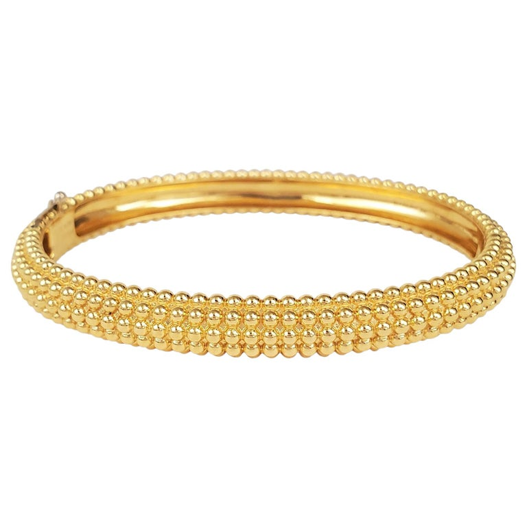 Van Cleef & Arpels Perlée Yellow Gold Bangle For Sale