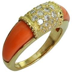Van Cleef & Arpels Philippine Diamond Pink Coral 18 Karat Yellow Gold Ring