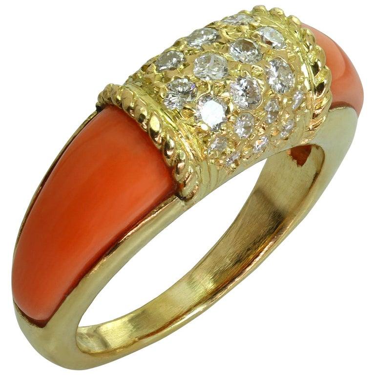 Van Cleef & Arpels Philippine Diamond Pink Coral 18 Karat Yellow Gold Ring For Sale