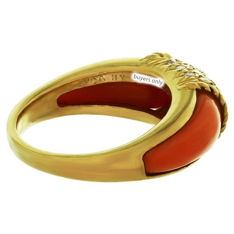 Women's Van Cleef & Arpels Philippine Diamond Pink Coral 18 Karat Yellow Gold Ring For Sale
