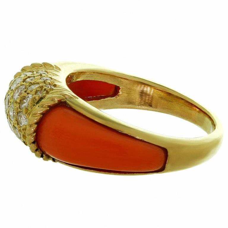 Van Cleef & Arpels Philippine Diamond Pink Coral 18 Karat Yellow Gold Ring For Sale 1