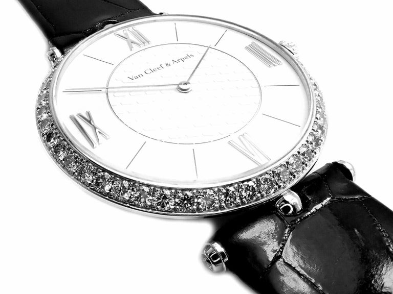 Van Cleef & Arpels Pierre Arpels Diamond White Gold Wristwatch In Excellent Condition For Sale In Holland, PA