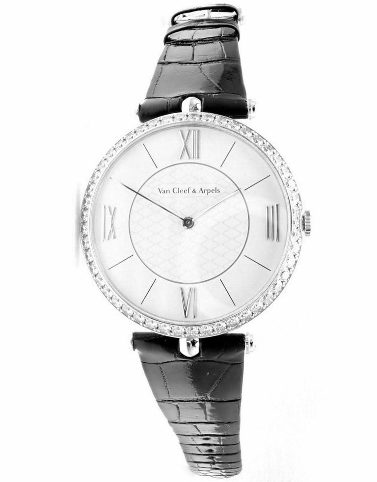 Women's or Men's Van Cleef & Arpels Pierre Arpels Diamond White Gold Wristwatch For Sale