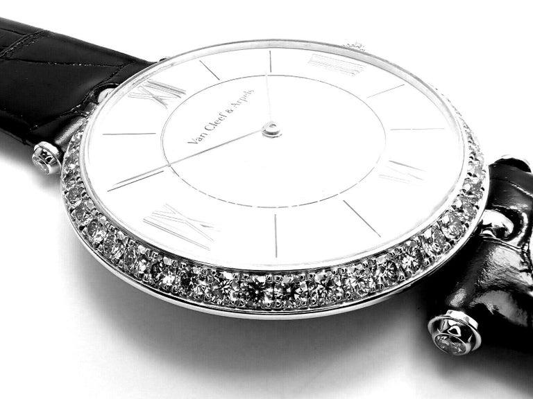 Van Cleef & Arpels Pierre Arpels Diamond White Gold Wristwatch For Sale 2