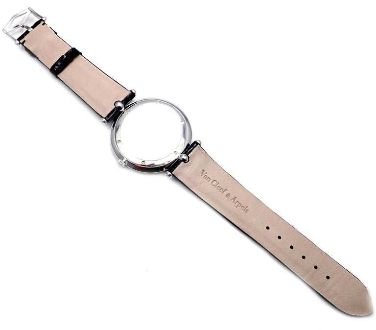 Van Cleef & Arpels Pierre Arpels Diamond White Gold Wristwatch For Sale 5