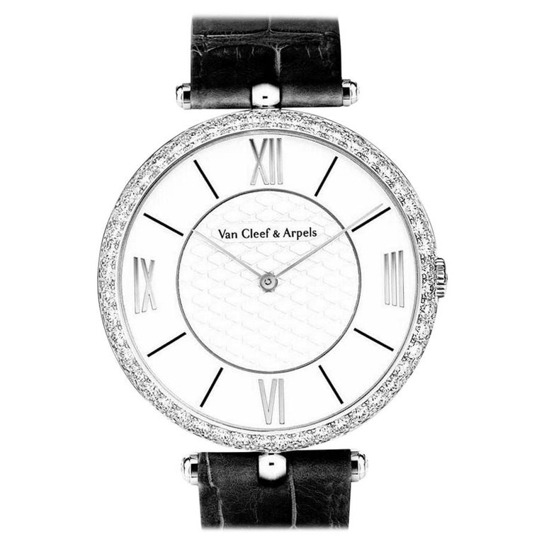 Van Cleef & Arpels Pierre Arpels Diamond White Gold Wristwatch For Sale