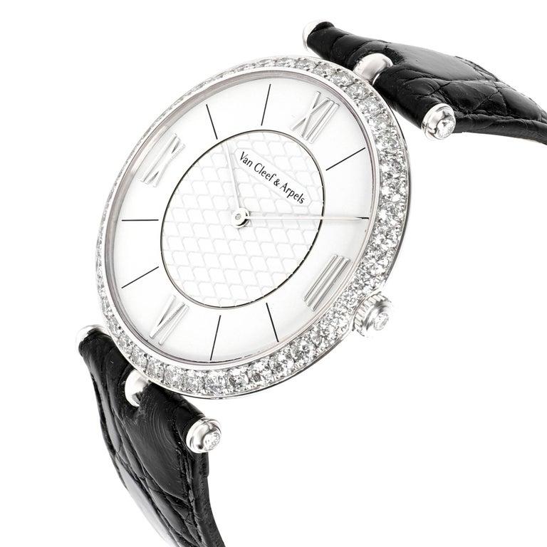 Van Cleef & Arpels Pierre Arpels VCARO3GJ00 Unisex Watch in 18 Karat White Gold In Excellent Condition For Sale In New York, NY