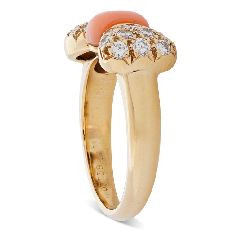 Round Cut Van Cleef & Arpels Pink Coral and Diamond Bow Ring in 18 Karat Yellow Gold For Sale