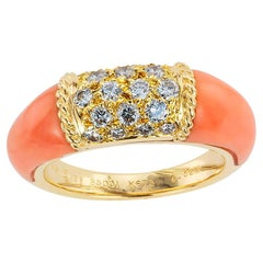Van Cleef & Arpels Pink Coral Diamond Yellow Gold Ring
