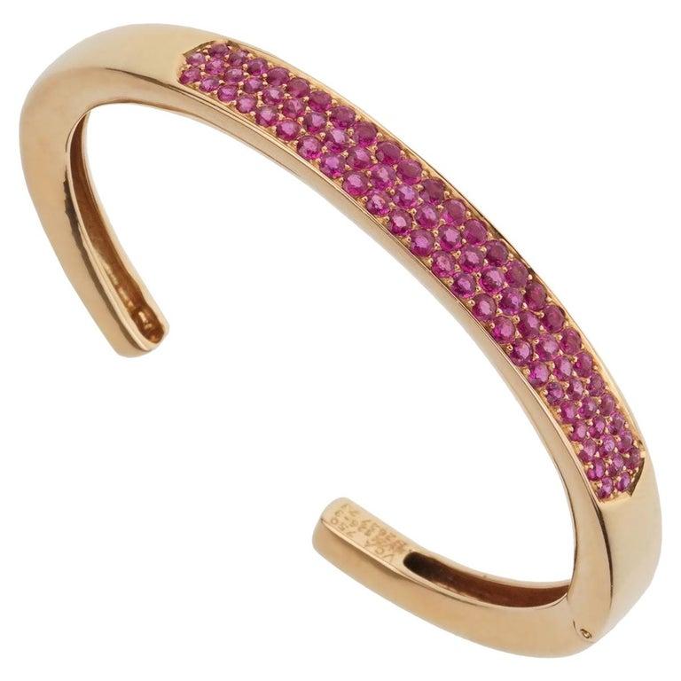 Van Cleef & Arpels Pink Sapphire Rose Gold Bangle For Sale