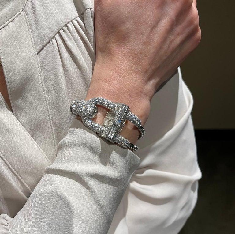 Women's or Men's Van Cleef & Arpels Platinum and Diamond Cadenas Watch For Sale