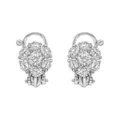 Van Cleef & Arpels Platinum and Diamond Flower Cluster Earclips