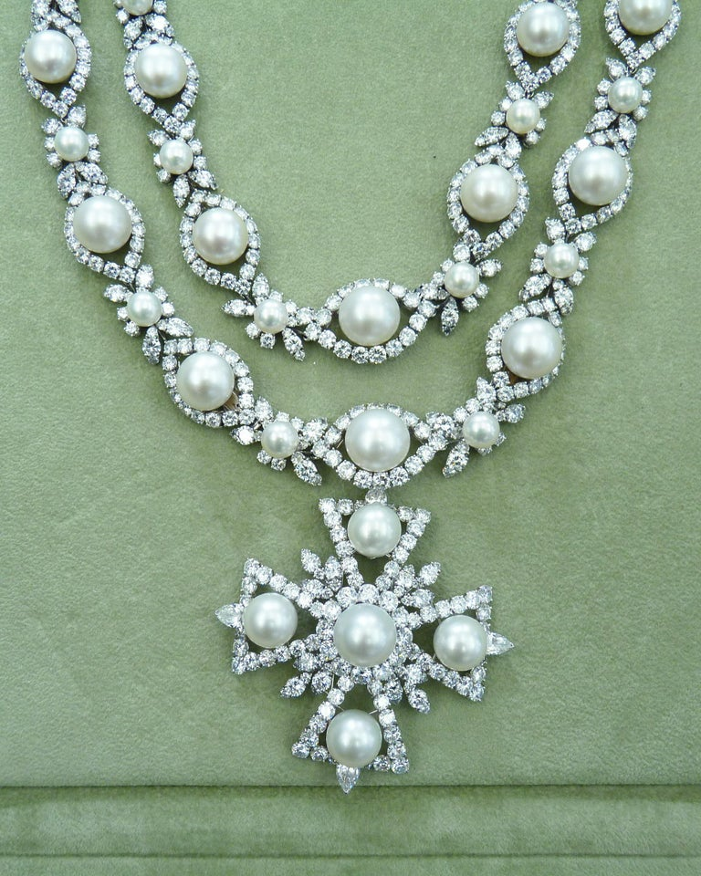 Mixed Cut Van Cleef & Arpels Diamond Pearl Cross Necklace in Platinum For Sale