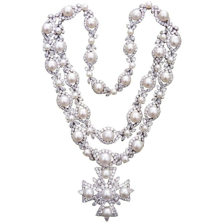 Van Cleef & Arpels Diamond Pearl Cross Necklace in Platinum For Sale