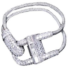Van Cleef & Arpels Platinum Diamond Cadenas Bracelet Wristwatch, 1941