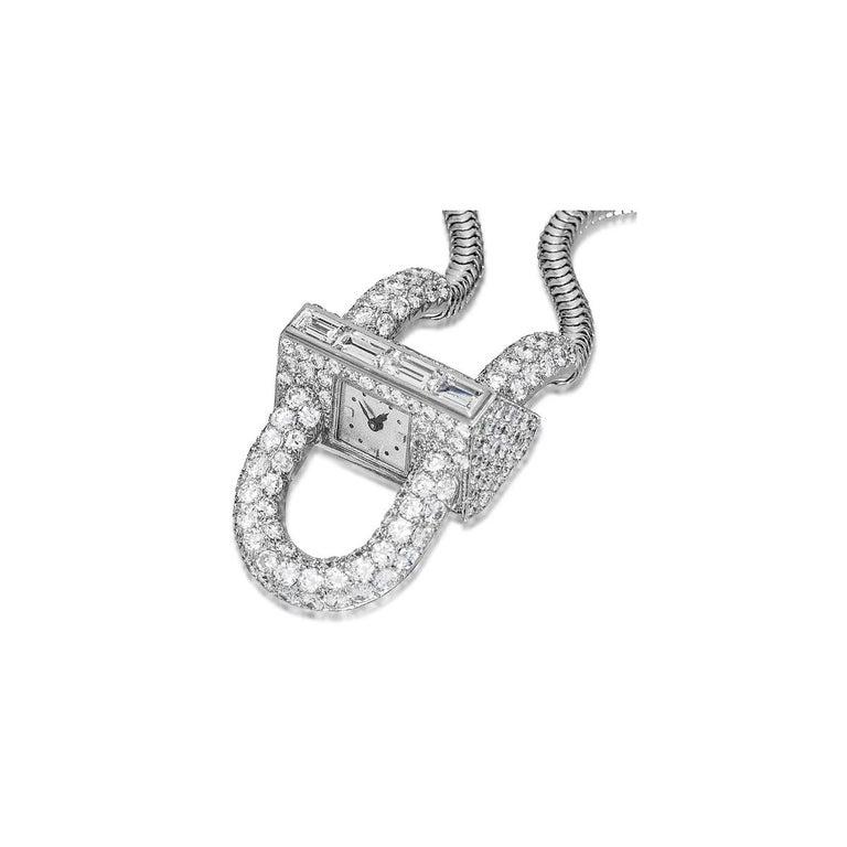 Retro Van Cleef & Arpels Platinum and Diamond Cadenas Watch For Sale