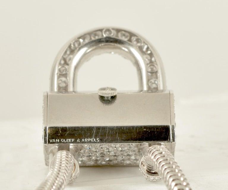 Old European Cut Van Cleef & Arpels Platinum and Diamond Cadenas Watch For Sale