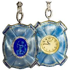 Van Cleef & Arpels Platinum Diamond Enamel Cameo Necklace Pendant Watch, 1910