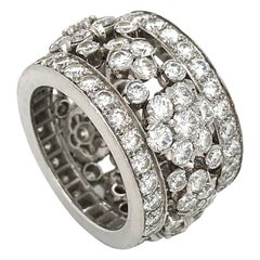"Van Cleef & Arpels Platinum Diamond ""Snowflake"" Ring 5.50 Carat"