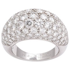 Van Cleef & Arpels Platinum Dome Ring with Diamonds