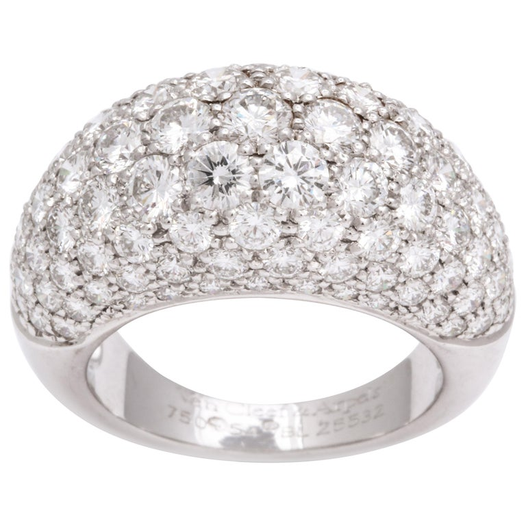 Van Cleef & Arpels Platinum Dome Ring with Diamonds For Sale