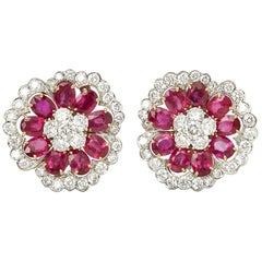 Van Cleef & Arpels Platinum Ruby & Diamond Flower Camellia Statement Earrings