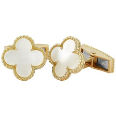 Van Cleef & Arpels Pure Alhambra 18 Karat Gold and Mother of Pearl Cufflinks