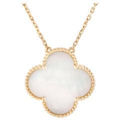 Van Cleef & Arpels Pure Alhambra 18 Karat Gold White Mother of Pearl Pendant