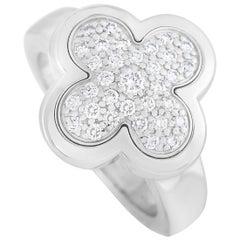 Van Cleef & Arpels Pure Alhambra 18 Karat White Gold Diamond Pave Ring