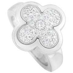 Van Cleef & Arpels Pure Alhambra 18 Karat White Gold Diamond Pave Ring