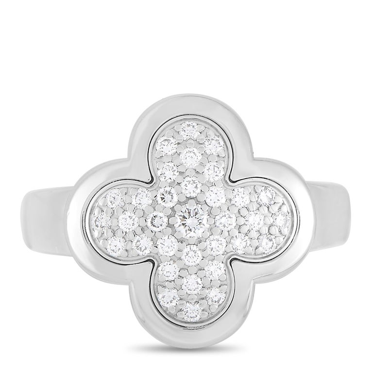 Women's Van Cleef & Arpels Pure Alhambra 18 Karat White Gold Diamond Pave Ring For Sale