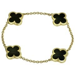Van Cleef & Arpels Pure Alhambra Black Onyx Yellow Gold Bracelet