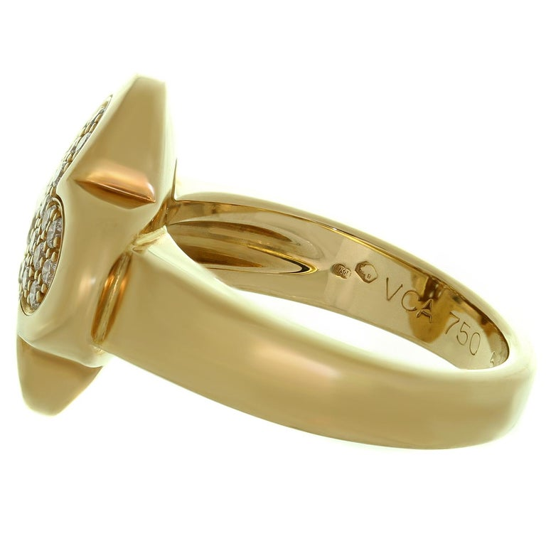 Brilliant Cut Van Cleef & Arpels Pure Alhambra Diamond Yellow Gold Ring For Sale