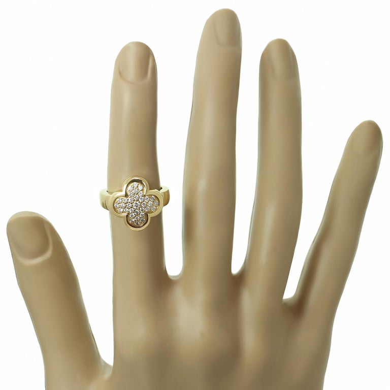 Van Cleef & Arpels Pure Alhambra Diamond Yellow Gold Ring In Excellent Condition For Sale In New York, NY