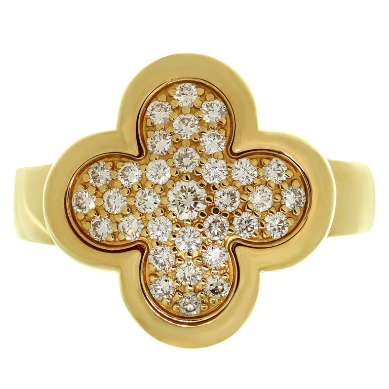 Van Cleef & Arpels Pure Alhambra Diamond Yellow Gold Ring For Sale